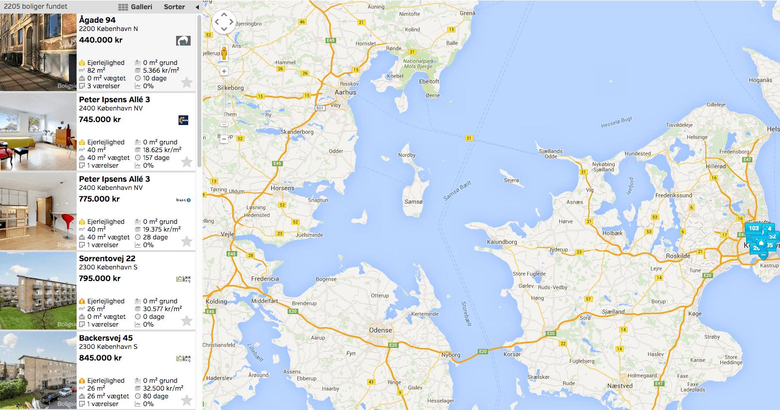 bolig.dk screenshot af boliger i kbenhavn
